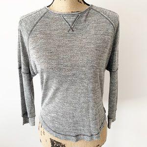 Rebecca Taylor Gray Black Marled Long Sleeve Top
